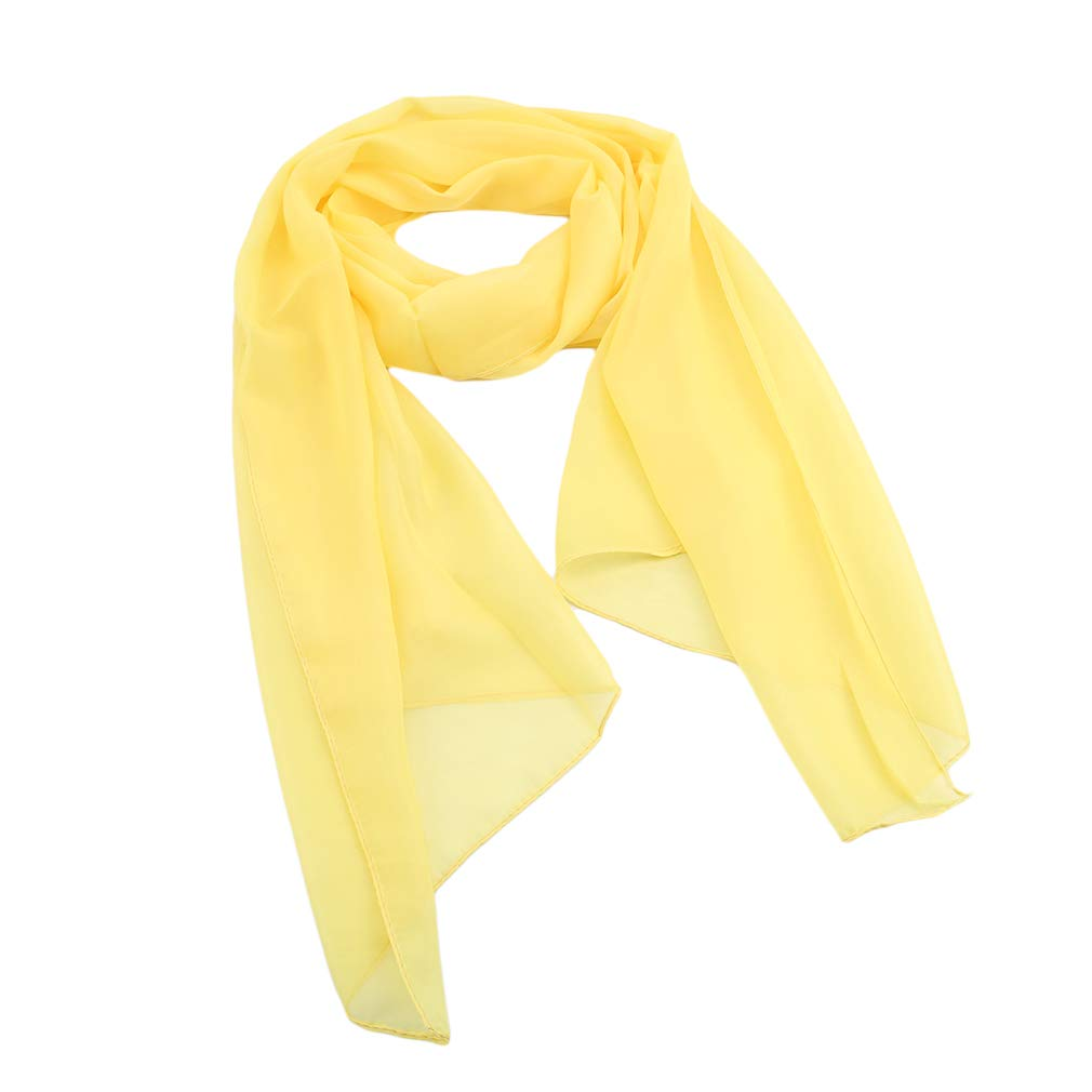 SOURBAN Beach Shawl Solid Color Chiffon Scarf Casual Open Front Cover up Long Scarf,yellow,LW 15050cm