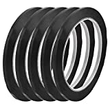 uxcell 5Pcs 4mm Width 66m Length Waterproof Black Single Sided Adhesive Marking Tape