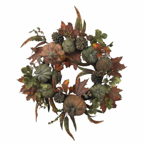 Nearly Natural 4902 Pumpkin and Gourd Wreath, 24-Inch, Green/Orange