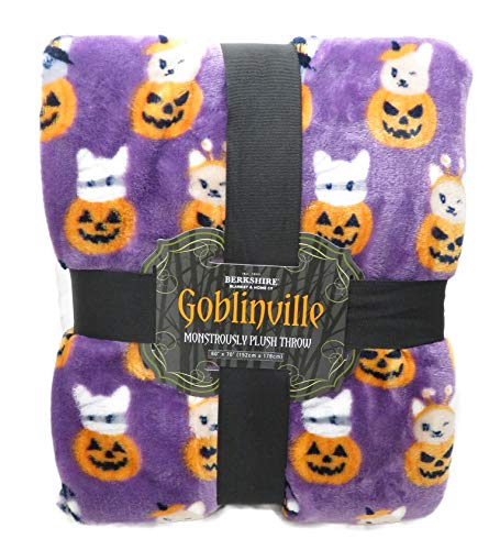 Berkshire Baby Puppies & Kittens in Jack-O'-Lanterns Goblinville 60 x 70 Inch Monstrously Plush Throw Blanket -