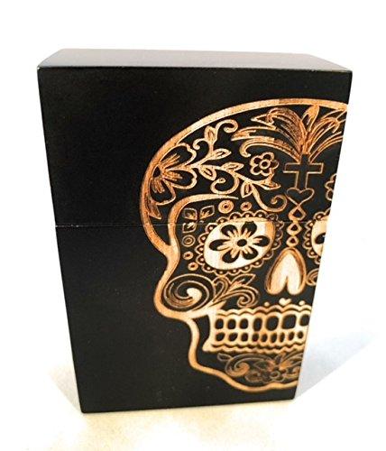 Cigarette Pack Holder Wooden Hand Crafted Sugar Skull Day of Dead Design for Standard Pack (Black)