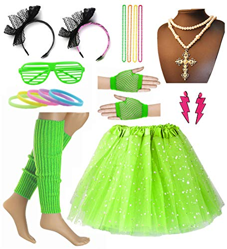 80's Lace Headband Tutu Skirt Fishnet Gloves Madonna Costume Set for 80's Party (Green, One Size) -