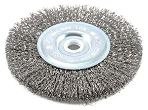 Forney 72741 Wire Wheel Brush, Coarse Crimped with 1/2-Inch Through 5/8-Inch Arbor, 5-Inch-by-.012-Inch