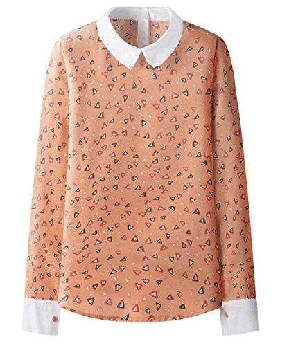 YUNY Women's Long Sleeve Peter Pan Collar Print Chiffon Tops Blouse five US
