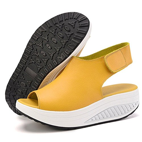 XMeden - Sandalias mujer amarillo