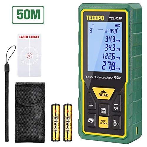 chollos oferta descuentos barato Telémetro Láser 50m TECCPO Medidor Láser de Distancia con Precisión 2mm Niveles de Burbuja con Función de Silencio Sensor de Ángulo Electrónico IP54 TDLM21P