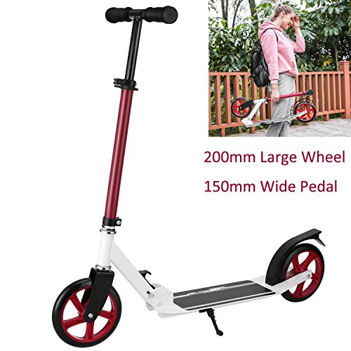 Benlet Aluminum Commute Kick Scooter, 200mm PU Large Wheel & 150mm Wided Pedal & Adjustable Height & Foldable Push Scooter Best Gifts for Adult Teens [US Stock] (Red)