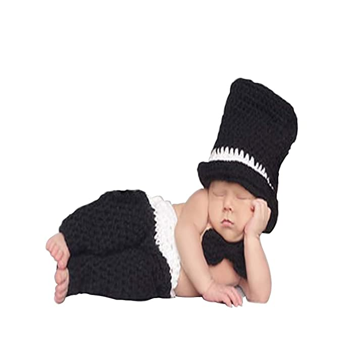 c0c720ad8f8 ISOCUTE Newborn Photo Outfit Gentleman Hat + Pants + Bow Tie for Baby Boy Photography  Prop