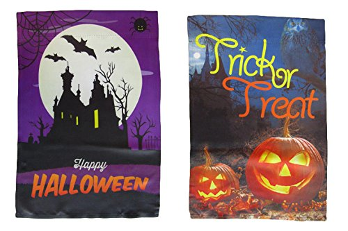 ALBATROS 12 inch x 18 inch Happy Halloween #1 Vertical Sleeve Flag for Garden for Home and Parades, Official Party, All Weather Indoors Outdoors ()