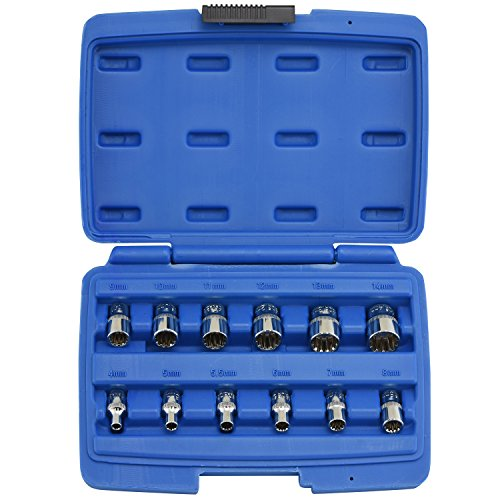 - Neiko 12-Piece 1/4-Inch Drive Octa-Metric Spline Socket Set