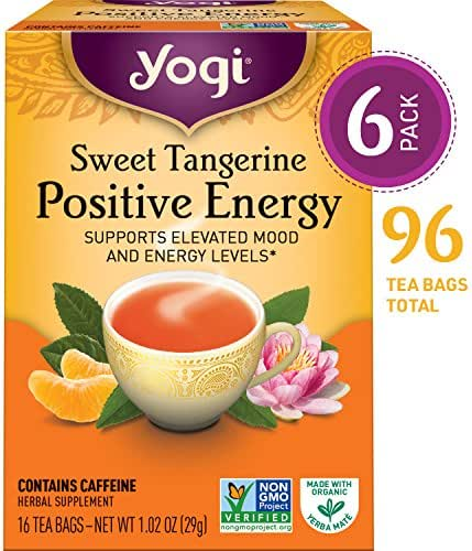 Yogi Tea - Sweet Tangerine Positive Energy - Supports Elevated Mood and Energy Levels - 6 Pack, 96 Tea Bags Total