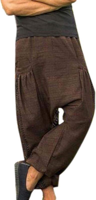 Pantalón Boho Estampado para Hombre Pantalones Hippie Parche de algodón Pantalones Aladdin Pantalones Holgados Harem: Amazon.es: Ropa y accesorios
