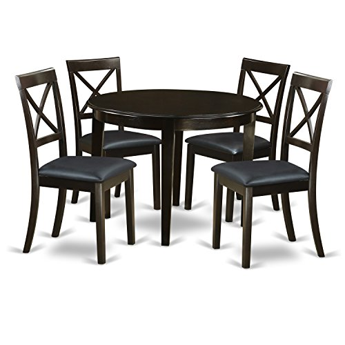 East West Furniture BOST5-CAP-LC 5-Piece Kitchen Table and Chairs Set, Small, Cappuccino Finish
