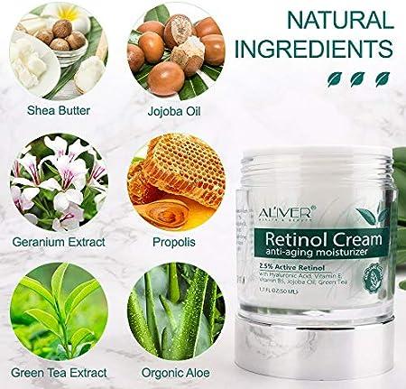 Crema hidratante de retinol, para rostro, cuello y escote con 2,5% de retinol y ácido hialurónico, la mejor crema facial de día y noche de piel simplificada de 1,7 oz