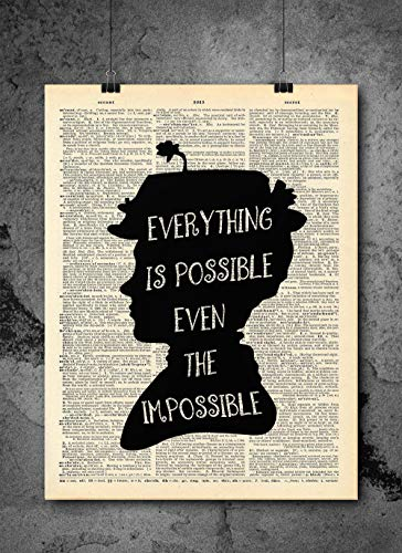 Mary Poppins - Everything Is Possible Quote - Dictionary Art Print - Vintage Dictionary Art Decor Home Vintage Art Abstract Prints Wall Art for Home Decor Wall Decorations - Print Only