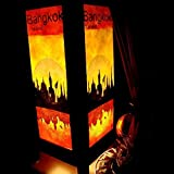 electric slimline fireplaces - Bangkok City Sun Riverside Handmade Asian Oriental Wood Table Lamp Gift Bedside Night Light Bulbs Bedroom Accessories Home Decor Living Room Bedside Homemade Art Garden Outdoor Floor Japanese Modern Vintage Christmas Desk Lamp (Copter Shop)