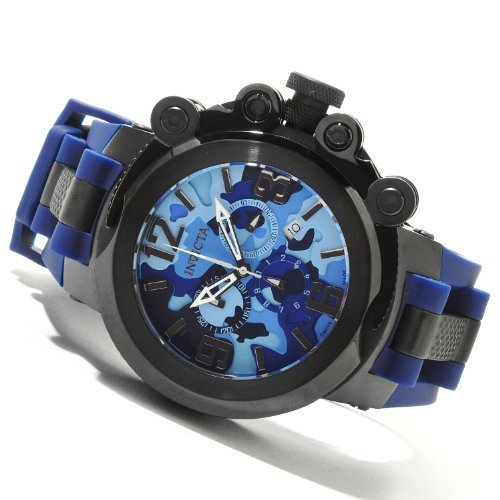 Invicta Mens Coalition Force Trigger Swiss Made Chronograph Black IP Case Camo Blue Watch 11675