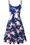 Plus Size Floral Midi Dresses for Women Summer Adjustable Strappy Swing Dress Pink Floral 2X-Large