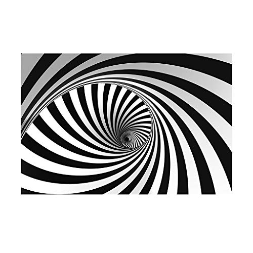 Wallpaper Mural Wall Sticker 3D Vortex Floor Stickers Black and White Interlaced