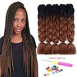 "Two Tone Ombre Jumbo Braids Hair Extension 24"" 5Pcs/Lot 100g/pc High Temperature Kanekalon Synthetic Fiber for Twist Braiding Hair (Black/DarkBrown)"