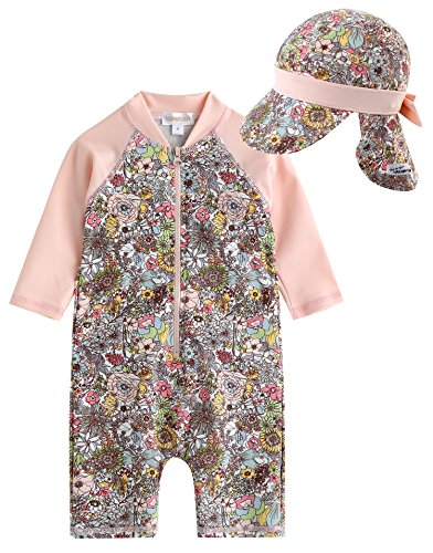 Vaenait Baby 0-24M Infant Girls Longsleeves One piece Swimsuit With Cap Baby Floral L