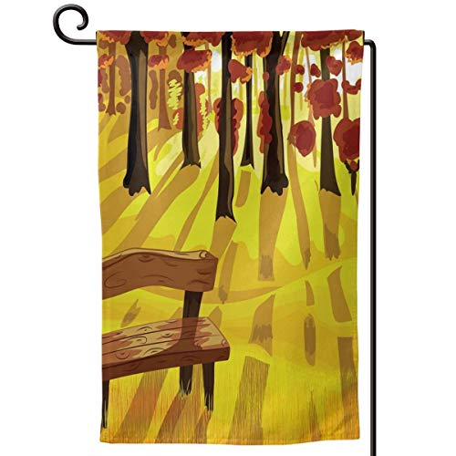 (lsrIYzy Garden Flag,Cartoon Lonely Bench in Autumnal Park with Seasonal Abstract Growth,12.5x18.5 inch)