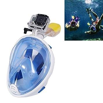 Máscara de buceo submarina fijación cámara deporte cámara Gopro Azul