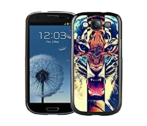 New Best Samsung Galaxy S3 Cover Durable Soft Silicone PC Tiger Roar Cross Hipster Quote Animal Design Black Case