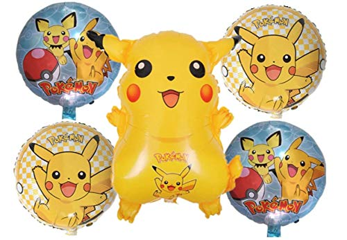 Amscan Pokemon Birthday Party Balloons - Pikachu Friends and Pokeball Balloon - Adult & Kids Party Theme Decorations - Helium Quality 2019 Revised Bundle by Jolly Jon ® -