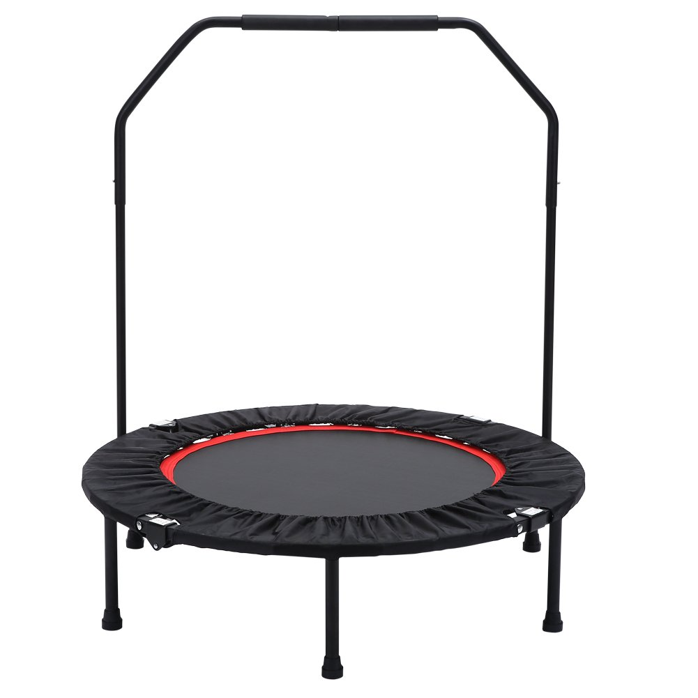 Seatopia 40'' Fitness Trampoline with Adjustable Handrail Portable Silent Bounce Cardio Workout Trainer – Fun for Adults & Kids, Max load 300 lbs
