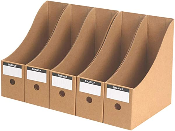 XIAOLULU-Office Revistero archivador Caja de consolidación de Archivos Caja de Almacenamiento de Libros Carpeta de Libros Oficina de Papel de Kraft Caja de Datos de la Caja de Almacenamiento: Amazon.es: Hogar