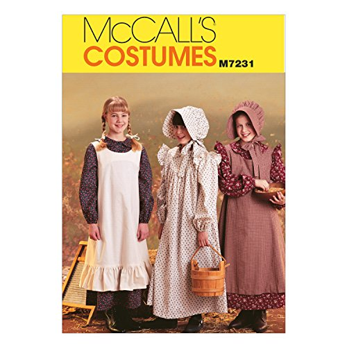 McCall's M7231 Girl's Pioneer Dress and Hat Sewing Pattern, Sizes 14-16 (Pioneer Bonnet Pattern)