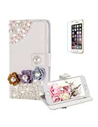Funyye Diamond Wallet Cover for iPhone 7,Luxury 3D Pearl Flower Design Crystals Bling Magnetic Flip Case Kickstand Feature Card Slots for iPhone 8,Anti Scratch Full Body Soft Silicone PU Leather Case for iPhone 7/8 + 1 x Free Screen Protector