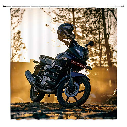 (Guting tech Motorcycle Shower Curtain Custom Made Manly Motorcycle with Helmet Expensive on Sunset Street Fabric Polyester Waterproof Bathroom Decoe Set with Hooks,71x71 Inch,Black Yellow)