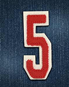 Alphabet varsity college style numbers iron on motif Red number 5. H 6cm