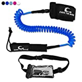 PREMIUM SUP Leash 10' COILED w/ Waterproof Wallet by Own the Wave - Double Stainless Steel Swivels and Triple Rail Saver (Dark Blue)