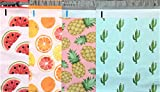 Designer Poly Mailers 10x13 : Watermelon, Citrus, Pink Pineapple, Mint Cactus; Printed Self Sealing Shipping Poly Envelopes Bag (40 Mix Variety Pack #7)