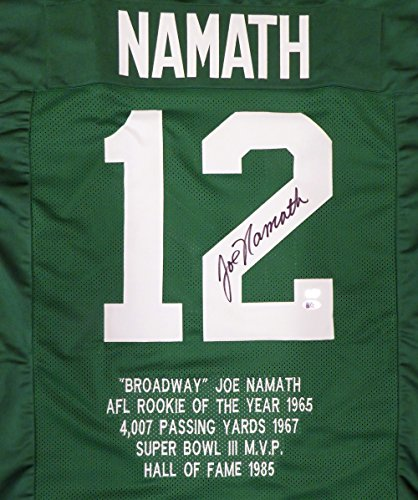 New York Jets Joe Namath Autographed Green Jersey Sewn In Stats Beckett BAS Stock #128885