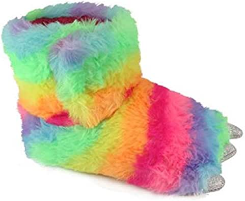 Wonder Nation Children/Kids/Boys/Girls Cute Warm Plush Dinosaur Foot Monster Claw Indoor House Fuzzy Slipper/Shoes Costume (Toddler/Little Kid) - Rainbow (9-10 Little Kid)