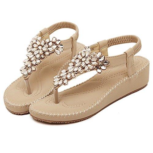 Shoes de de Sandalias las étnico verano estilo suave de Retro Color A Tamaño cuñas UK4 B Bohemia fondo Sandalias cómodo 5 5 Beach pies de plegables ZHIRONG CN37 mujeres Rhinestone EU37 t70ZqZ