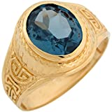 10k Yellow Gold Simulated Aquamarine Greek Design March Birthstone Mens Ring