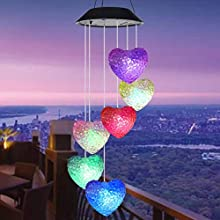 Tvoip Color Changing LED Solar Power Lamp Heart Wind Chimes Garden Decoration Yard Waterproof LED Light Lighting Hanging Decor (Heart)
