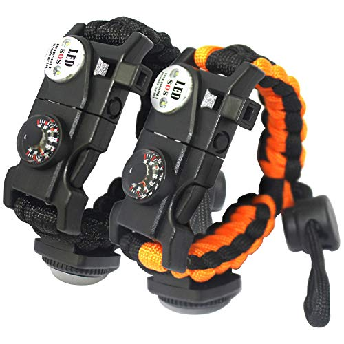 (leizhan 2 Pcs 21 in 1 Adjustable Paracord Survival Bracelet | Include SOS LED Flashlight, Bigger Compass, Thermometer, Fire Starter, Rescue Whistle and Tactical Emergency Gear Kit)
