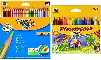 Bic - Pack 24 lápices de colores Tropicolors + 18 ceras de colores ...