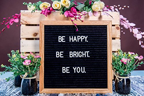Changeable Felt Letter Board 10x10 inches - Includes Bonus Picture Stand & Sawtooth Hanger, Free Canvas Bag, Emojis, File, & 300 characters | Wooden Oak Message Sign Board Photo #4