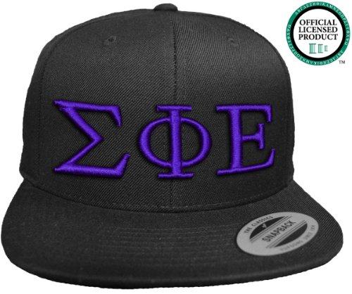 SIGMA PHI EPSILON Flat Brim Snapback Hat Purple Letters / SigEp   Sig Ep Frat   Fraternity Cap