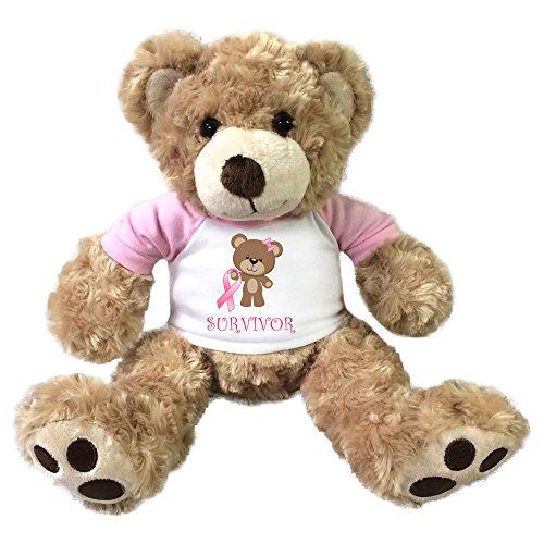 Personalized Breast Cancer Survivor Teddy Bear - 13 inch Honey Vera Bear (Breast Personalized)