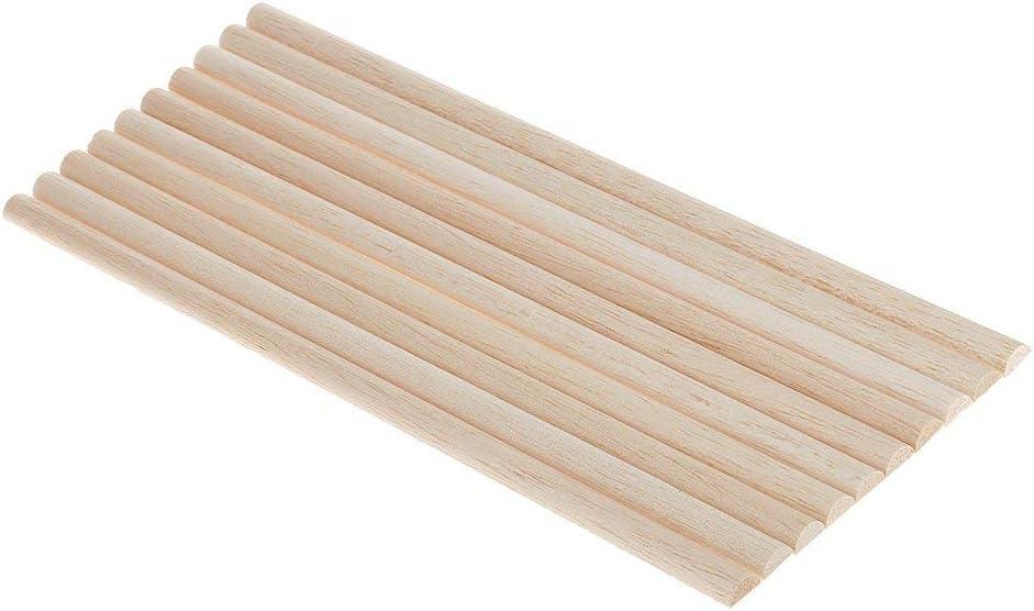 11mm Inzopo 10 Pieces Balsa Wood Unfinished Wood Craft Semi-circle Stick Dowel Rod