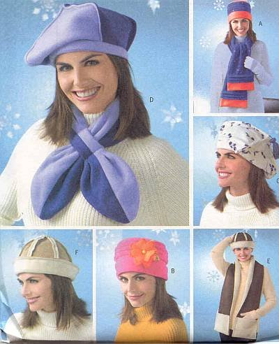 Butterick 4307 Sewing Pattern Misses' Fleece Scarves Hats Beret Variations