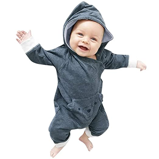 aa46a5132ba3 Amazon.com: Toddler Baby Girl Boy 3-24 Months Clothes Cartoon Bear Long  Sleeve Hooded Jumpsuit Romper Outfits: Clothing